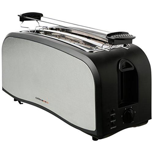 Ultratec Doppelschlitz-Toaster in Mattschwarz / Edelstahl, für 4 Toastscheiben