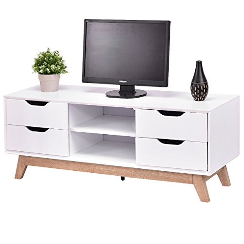 Tangkula Wood TV Stand Storage Console Entertainment Media Center with Legs by Tangkula