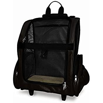 Furhaven Pet Backpack-Roller Carrier for Dogs and Cats, Black