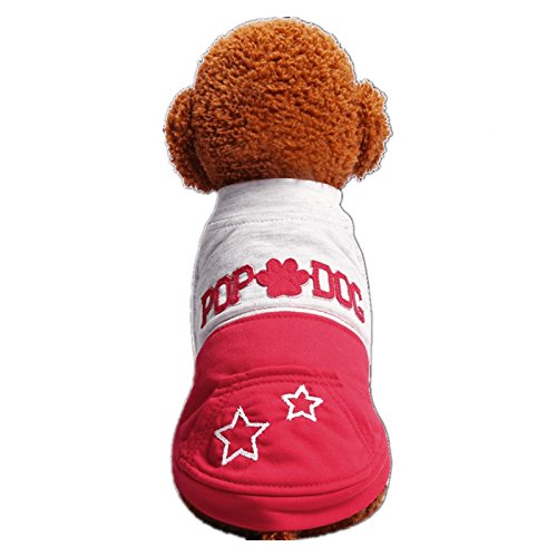Chicpaw Small Dog Cat Puppy Clothes Blue Patchwork T-topper Shirt Pet Teddy Chihuahua Coat Apparel Costume (XL, Red) -  A1152