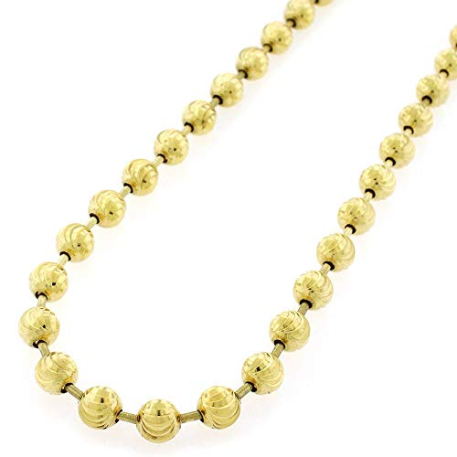 (Sterling Silver Italian 6mm Ball Bead Moon Cut Solid 925 Yellow Gold Plated Necklace Chain 24