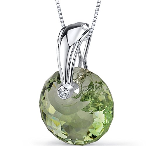 Spherical Cut 15.00 carat Green Amethyst Necklace in Sterling Silver Rhodium Nickel Finish