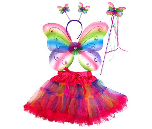 Mozlly Kids Neon Rainbow Glittery Butterfly Fairy Tutu Costume - Includes Wings, Tutu, Wand and Headband - Pretend Play Dress Up for Girls Age 3+ Wing Size: 17.7 x 12.5 x 1 inches (4pc Set)