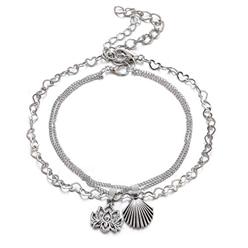 (NIKOLay Temperament Creative Bohemian Alloy Lotus Shell Multi-Layer Chain Ankle Anklet Foot Footrest Retro Anklet for Women )