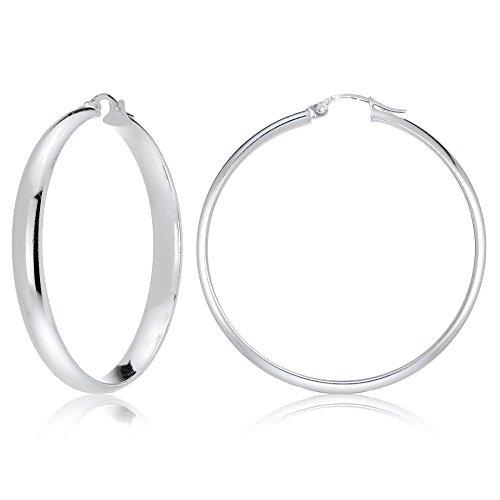 (Sterling Silver Half Round Design High Polished Hoop Earrings, 40mm)