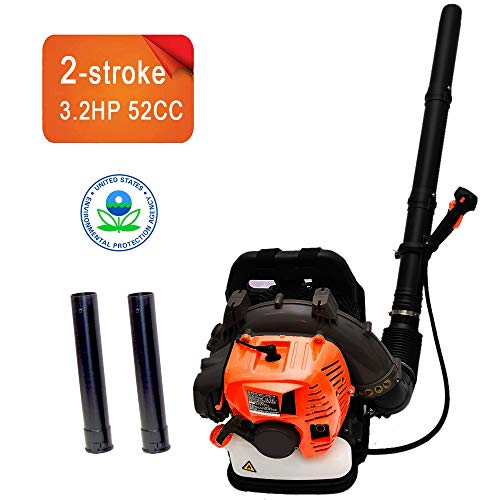 EASYG 2Stroke 3.2HP 52cc Gas Backpack Leaf Blower EPA Powered Debris w/Padded Harness