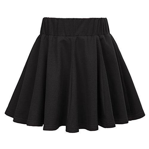 Kids Girls Pleated Retro Solid Color Elastic Waist Skirts 11-12yrs (Pleated Girls Skirt)