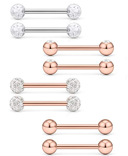 Ftovosyo 14G 14mm 9/16Inch Crystal Gilitter Jeweled Clear CZ Ball Nipple Tongue Shield Ring Barbell Body Piercing Jewelry Retainer 8PCS Rose Gold