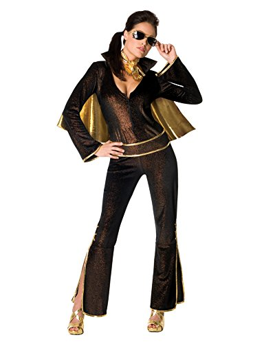 [Black Elvis Costume Womens Elvis Impersonator Costume Jumpsuit Cape Sizes: XS] (Elvis Impersonator Costume)