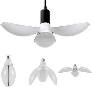 LED Garage Ceiling Lights - 4000LM Super Bright Adjustable Garage Light Bulbs, E26 Base, 45W Deformable Garage Lighting LED Shop Lights for Garage (daylight-45W-6500k)