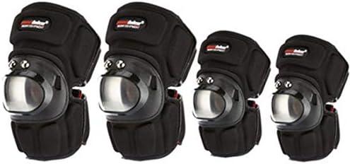 LilyAngel マウンテンライディングステンレススチールオートバイオフロードバイク防護服ショート膝パッドライディングエルボー4本 (サイズ : Kneepad+Elbow pads)
