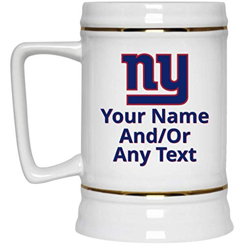 - Custom Personalized NY Giants Beer Mug New York Giants Logo Beer Stein 22 oz White Ceramic Beer Cup NFL NFC Perfect Unique Gift for any Giants Fan