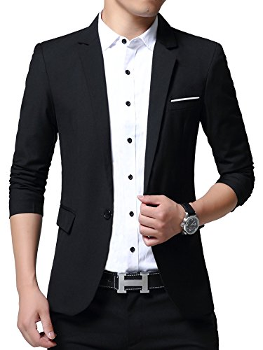 Men's Slim Fit Suits Casual One Button Solid Blazer ()