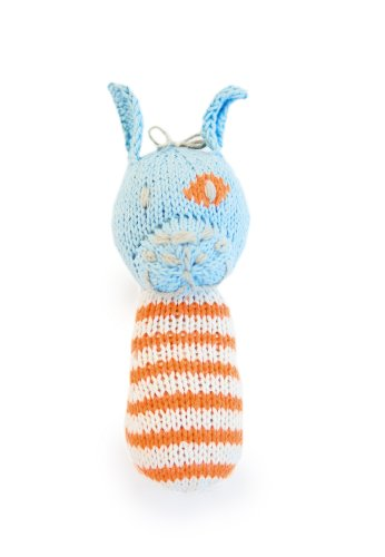 Finn + Emma | Mini Rattle | Baby Boy | Leo the Dog | 100% Organic & Eco-Friendly | Hand Knit & Fair Trade | Made in Peru