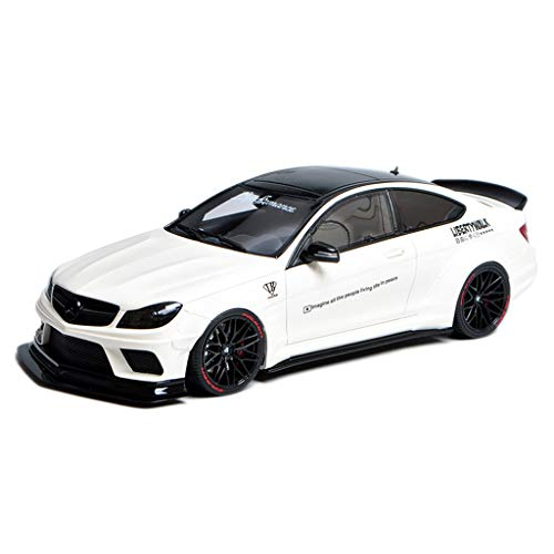 XINGPING-TOY Car Model Die Casting Carcar 1:18 Mercedes-Benz C63 AMG LB Wide Body Modified Version C-Class Resin Simulation Car Model (Color : White, Size : 26cm11cm10cm)