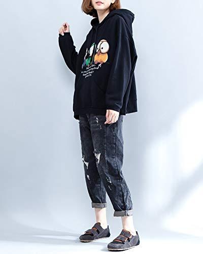 Con Cordón Manga Estampado Y Mujer Larga Negro Suelto Única Para De Dibujos Capucha Negro Talla Animados Sudadera Zebuakuade Iwq54vxI