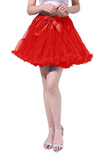 Pin Up Girl Costumes Corset - Tsygirls Women's 50s Vintage Bubble Skirt Crinoline Tutu Short Tulle Dance Petticoat Ballet Slip Chemise Underskirts Red Size S-M
