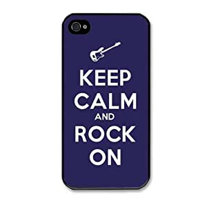 Keep Calm and Rock ON Guitar Pattern Snap On Case Hard Cover for Apple iPhone 4 iPhone 4s