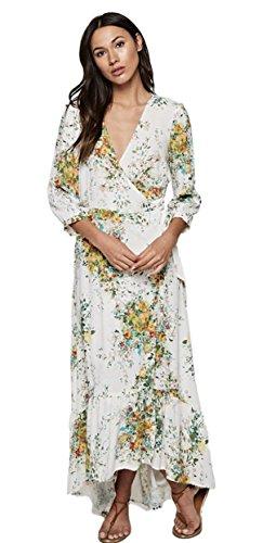 Love Stitch Women's Floral V-Neck Wrap Maxi Dress with 3/4 Sleeves and Ruffle Bottom Hi-Low Hem (Medium, Vanilla/Apple Multi) by Love Stitch