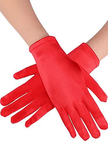 Sumind Short Satin Gloves Wrist Length Gloves Women's Gown Gloves Opera Wedding Banquet Dress Glove for Party Dance -