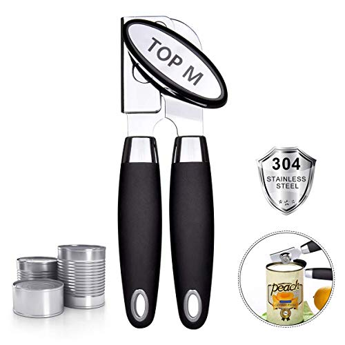 (Can Opener, Can Opener Manual Food-Safe FDA Stainless Steel, NO-Rust, Ergonomic Anti Slip Design Big Knob For Easy Turn,Home Restaurant Smooth Edge Can Openers Suitable For The Elderly)