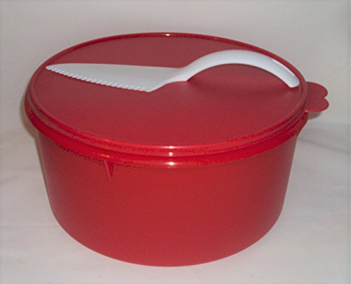 Tupperware Huge 12 In Holiday Red Canister Cake Taker Double Pie Carrier Pastry Server