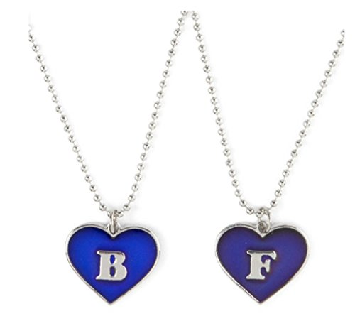 Set of 2 Pendant Necklaces Best Friends Mood Heart