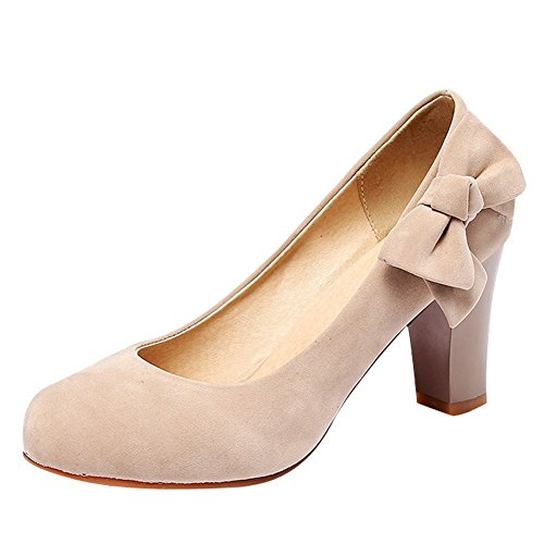 Mee Shoes Women's Beautiful Bow High Block Heel Slip On Court Shoes Nude cUaE5vFP