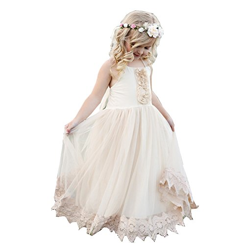 Think Pink Bows Baby Girls Champagne Lace Francesca Flower Girl Dress 1Y by Think Pink Bows