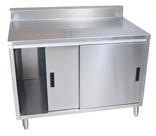Stainless Steel Cabinet Base - BK Resources Stainless Steel Cabinet Base Worktable with 5 inch Rear Riser, Two Sliding Doors, 30