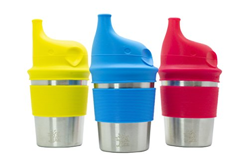 Stainless Steel Sippy Cups with BPA-Free Silicone Lids, Grips, and Sleeves (8 oz, 3 Pack) for Baby, Kids, Toddlers for Home & Outdoor Activities