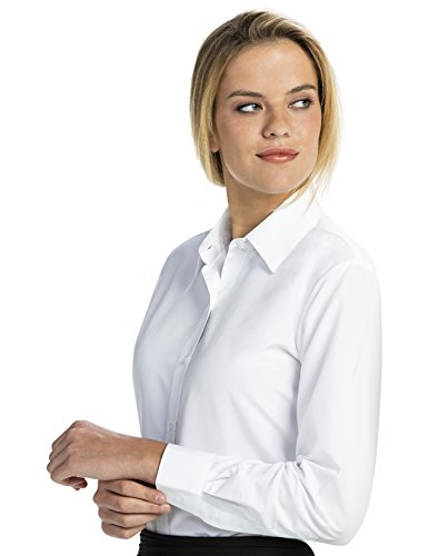 Luxe Microfiber Women's Button-Down Long Sleeve Shirt Regular Fit Point Collar - Style Becky by Luxe Microfiber
