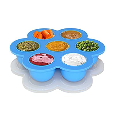 BABY MATE Portable Flower Shape Silicone Baby Food Storage Containers with Clip-on Lid (7 x 2 oz Cups) - Baby Food Freezer Trays - BPA Free Homemade Baby Food Containers by BABY MATE BABY SAFETY SOLUTIONS LLC that we recomend personally.