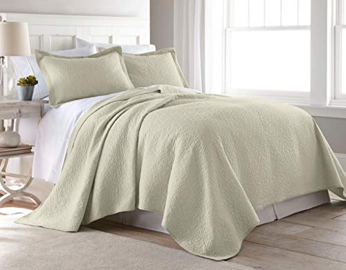 Chezmoi Collection Rebecca 3 Pieces Traditional 100% Cotton Pre-Washed Soft-Finished Quilt Set (Queen, Sand)