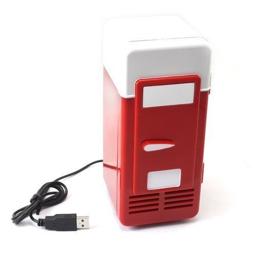 PsmGoods Set Cooling And Heating Functions As One Mini USB Powered Fridge For Beverage Drink Cans in Cubicle and Home office (Red)