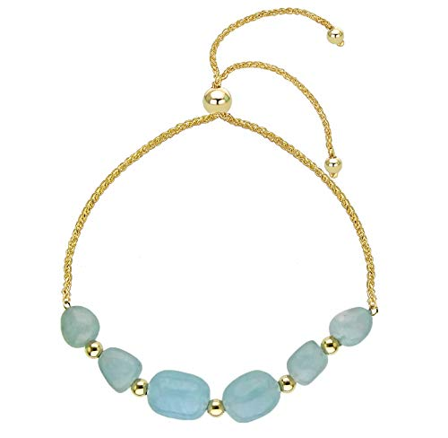 Bolo Bracelet with Multi-shape Simulated Aquamarine 14k Yellow Gold Tennis Bracelet 9.25