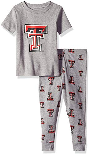 (NCAA by Outerstuff NCAA Texas Tech Red Raiders Toddler Short Sleeve Tee & Pant Sleep Set, Heather Grey, 3T)