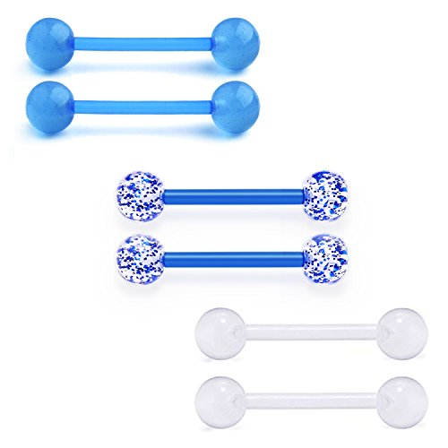 (vcmart Nipple Rings Retainers Tongue Ring Barbells Flexible Acrylic Piercing Bars Jewelry 14G 6PCS Blue)