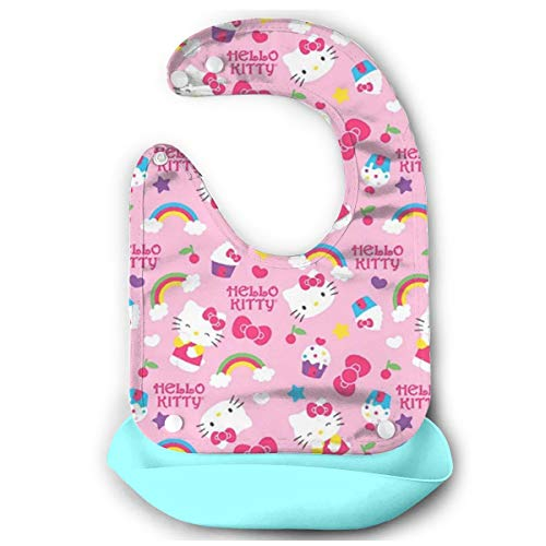 Baby Bib Hello Kitty with Icecream Waterproof Feeding Bibs for Babies and Toddlers with Comfort-Fit Fabric Neck Sky Blue ()
