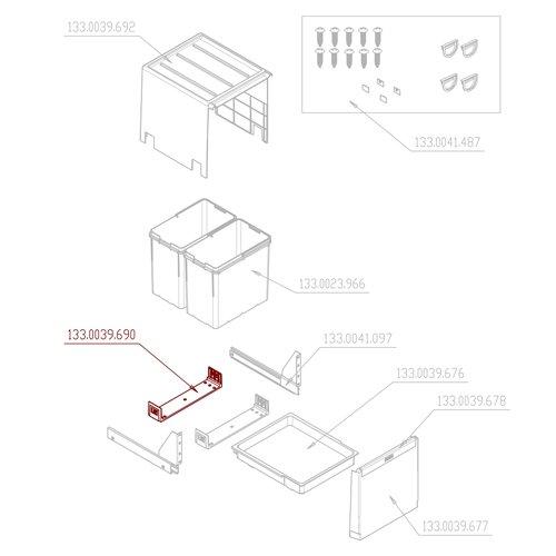 Franke Abfallsorter Cube Traverse f/ür Franke Abfalltrennsystem CUBE 40 H Abfalltrennsystem