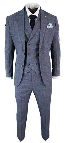 (Mens 3 Piece Suit Check Double Breasted Waistcoat Vintage Classic Tailored)