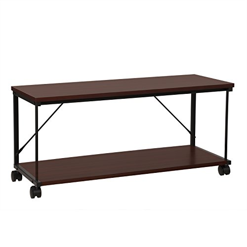 SONGMICS Coffee Table, Metal TV Stand with Storage Cabinet and Wheels, for Living Room Bed Room, Easy Assembly, Wooden, Reddish Brown ULTV10BZ ()
