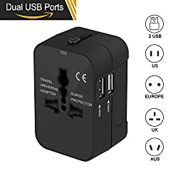 Travel Adapter, Roderick55 Worldwide All in One Universal Travel Power Adapter Plug Power Converter AC Power Plug Adapter Wall Charger with 2 USB Charging Ports Sync for USA EU UK AUS