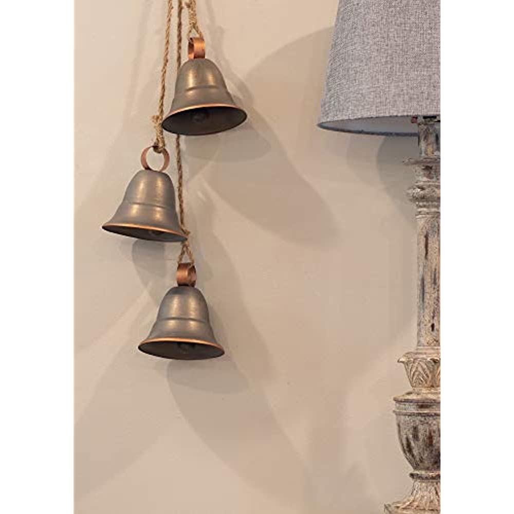 Melrose 3 Gray Decorative Hanging Bells On Rope Ornament ...