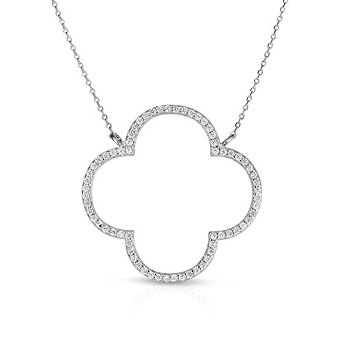 Unique Royal Jewelry Sterling Silver Open Four Leaf Clover Cubic Zirconia Necklace with Adjustable Length. (Natural Silver)