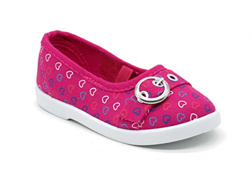 Blue Berry EASY21 Toddler's Adorable Elastic Strap Flat Cutie-09F,Fuchsia,Size 6 (Footwear Canvas Toddler Fuchsia)