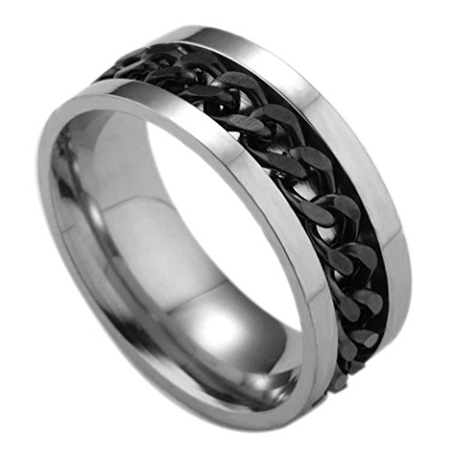 WensLTD Men's Titanium Steel Chain Rotation Ring Cross Border Jewelry Ring (#9, Black)