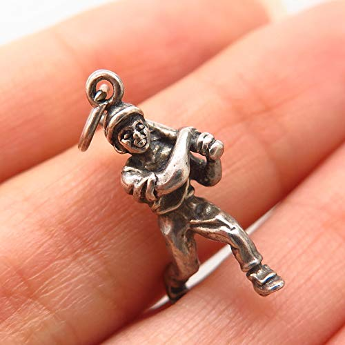 (925 Sterling Silver Vintage Baseball Player with Bat Design Charm Pendant Jewelry Making Supply by Wholesale Charms)