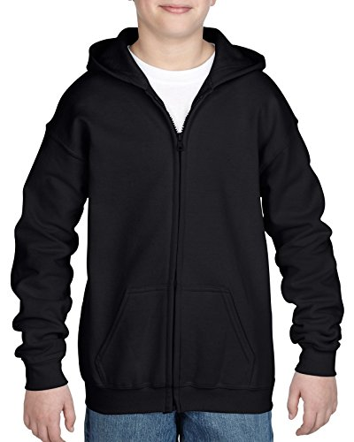 Gildan Big Kids Full Zip Hooded Youth Sweatshirt, Black, Large