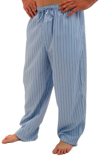 Del Rossa Men's 100% Cotton Pajama Bottoms - Sleep Pants, Medium Blue Striped (A0556P01MD)